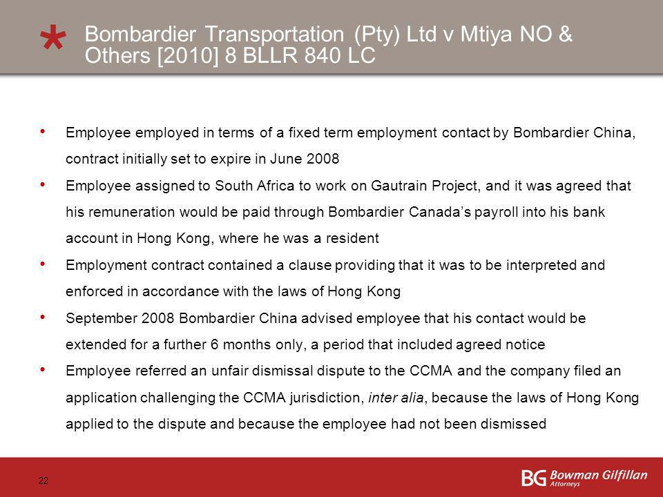 Bombardier Transportation (Pty) Ltd v Mtiya NO & Others [2010] 8 BLLR 840 LC
